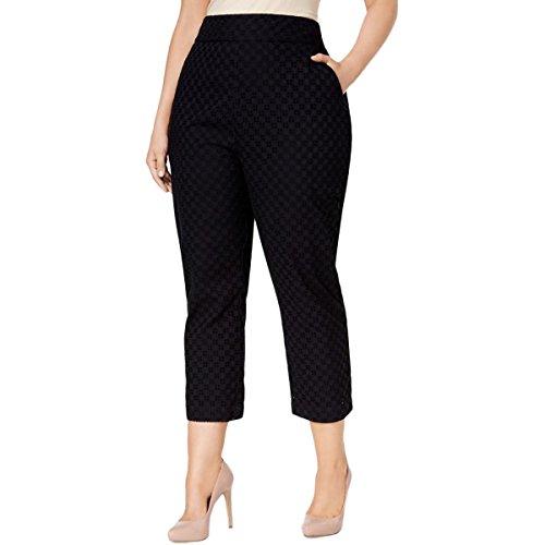 Melissa McCarthy Seven7 Women's Plus Size Eyelet Straight Leg Pant, Black, 14W
