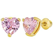 18k Gold Plated Pink Heart Screw Back Earrings Girls Teens