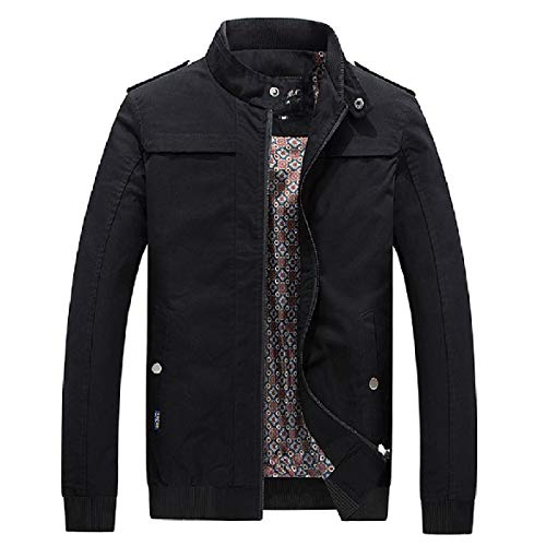Up Jacket Casual Black Thickening Coat Howme Men Fitted Stand Collar Washed Bomber Aqw7gp4B
