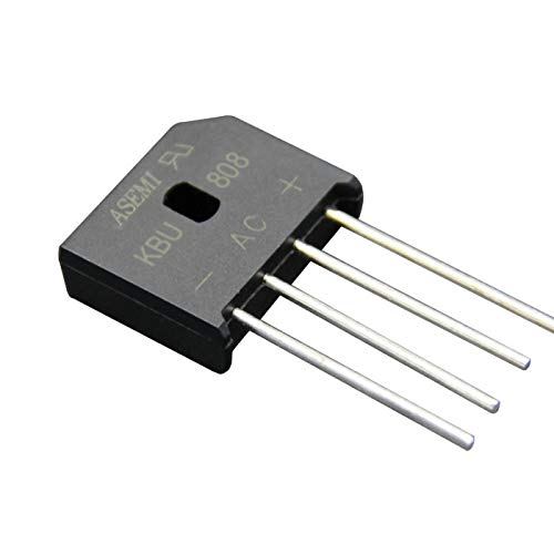 ASEMI KBU808(Pack of 10pcs) Through Hole Bridge Rectifier Diode KBU-4 Package 8A800V for Power Adapter…