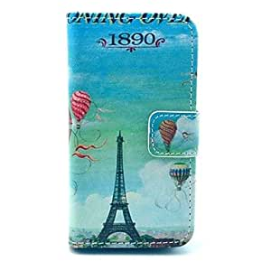 SJT Balloon Eiffel Tower Pattern PU Leather Full Body Case with Card Slot for iPhone 4/4S