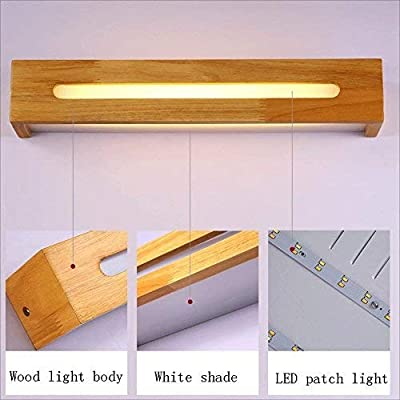 Guodishang Wood mirrors LED projector wall lights walking balcony bedrooms bed bath rooms modern wall lamp lamp support simple (Color : Length 55cm)