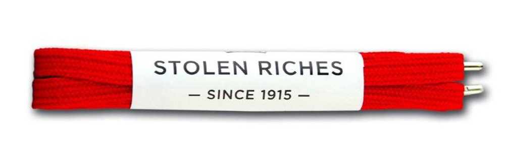 Stolen Riches Designer Sneaker Laces Portsalon Red 45'' Metal Tips Fits 6-7 Pair Of Tennis Shoe Eyelets