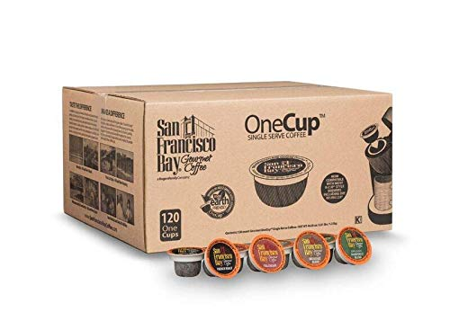 San Francisco Bay OneCup Variety Pack (120 Count) Single Serve Coffee French Roast - Fog Chaser - Rainforest - Breakfast Blend Compatible with Keurig K-cup Brewers Single Serve Coffee Pods