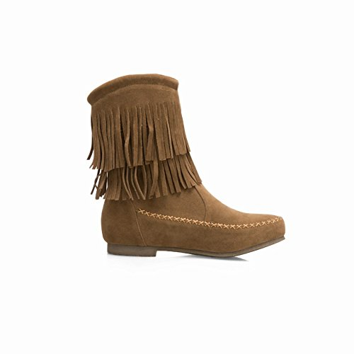 Charm Tassels Round Low Yellow Snow Toe Dark Boots Foot Women's Heel UOwnxr1Uq