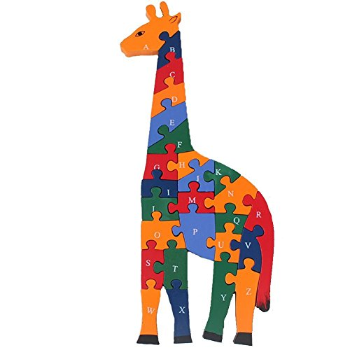 (Queenie Woodmade Giraffes Two Sides Alphanumeric Number Building Block Environmental Water-Based Paint Stereoscopic Puzzles Blocks Sets Toys )