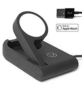 LXORY Apple Watch Charger (MFi Certified) Foldable Design To Enable Nightstand Mode With 1m (3ft) Long USB Cable For All iWatch Models At Home, Work And For Travel (Black)