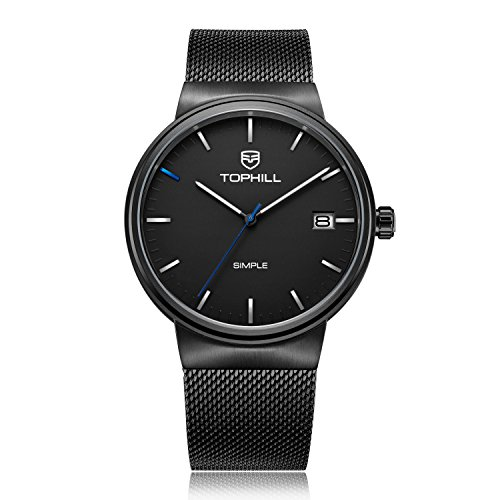 TOPHILL Men's TS005G Luxury Watch Two Tone Stainless Steel Band Black Dial (Black) ()