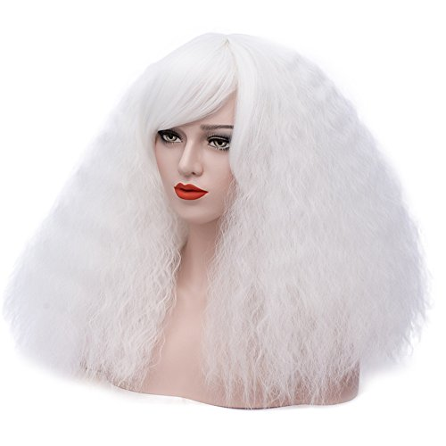 ELIM White Wigs for Women Short Fluffy Curly Wig with Bangs Heat Friendly Synthetic Hair Wig for Girls Z155P]()