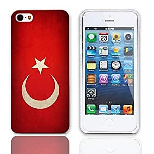 SUMCOM Vintage The Turkish Flag Design Hard Case with 3-Pack Screen Protectors for iPhone 5/5S