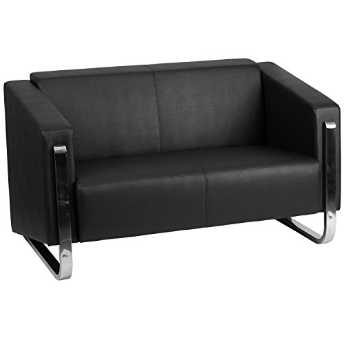 (Flash Furniture HERCULES Gallant Series Contemporary Black Leather Loveseat with Stainless Steel Frame)