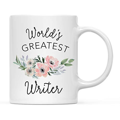 Andaz Press 11oz. Coffee Mug Gift for Women, World's Greatest Writer Mug, Bohemian Pink Anemone Floral Flower, 1-Pack, Drinking Cup Birthday Christmas Promotion Graduation Gift Ideas for Her ()