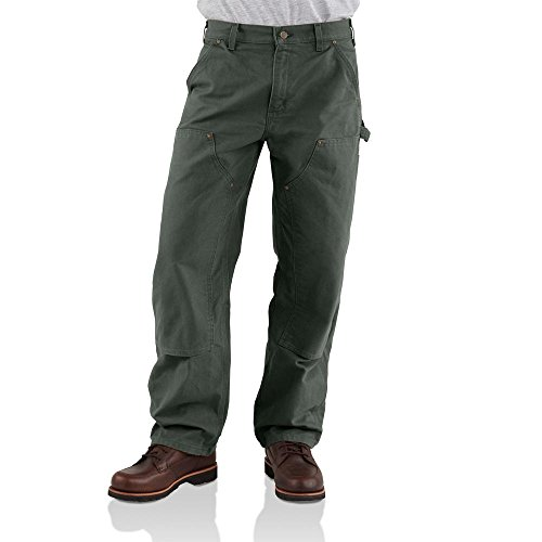 Duck Work Pant (Carhartt Men's Double Front Work Dungaree Washed Duck,Moss,28 x 30)
