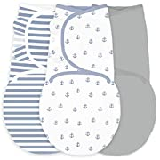 Amazing Baby Swaddle Blanket with Adjustable Wrap, Set of 3, Tiny Anchors, Stripes and Solid, Denim and Gray, Small