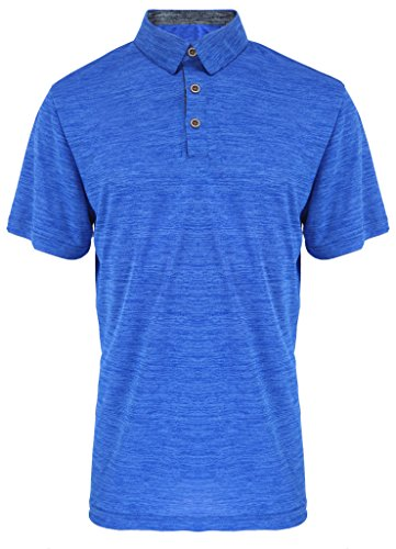 (Tee Shirts Mens Quick Dry Polyester Stretch Active Fishing Polo Tops Royal 2XL)