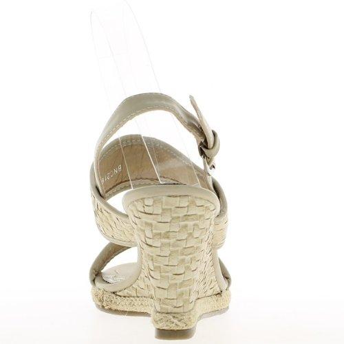 Sandales compensées beiges à talons de 8,5 cm et plateau de 2 cm