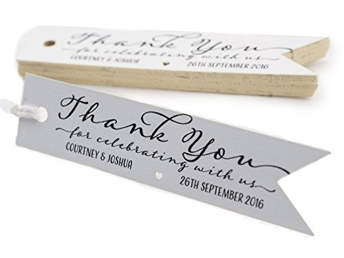 Summer-Ray.com 50pcs Personalized Mini Pennant Flag White Wedding Favor Gift Tags Thank You for Celebrating with (Summer Wedding Favors)