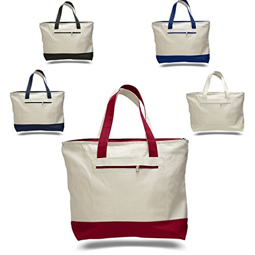 9c5d2221abda SET OF 4 - Heavy Canvas Large Size Fancy Zippered 12oz.Travel Tote ...