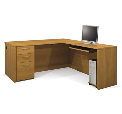 L-shaped Corner Premium Computer Desk in Cappuccino Cherry