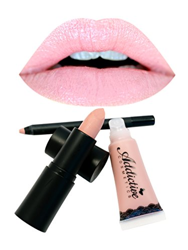 Nude Pink Lipstick, Lipliner and Lip Gloss Set by Addictive