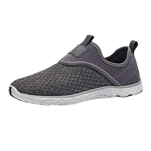 HYAO Quick Dry Water Shoes Breathable Sneakers Lightweight Beach Shoes for Men(9157M Gray,10.5) (Best Shoes For Step Aerobics 2019)