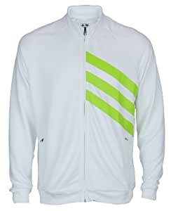Adidas Mens FP Full Zip Athletic Lightweight Layering Jacket (Medium, White with Lime Green)