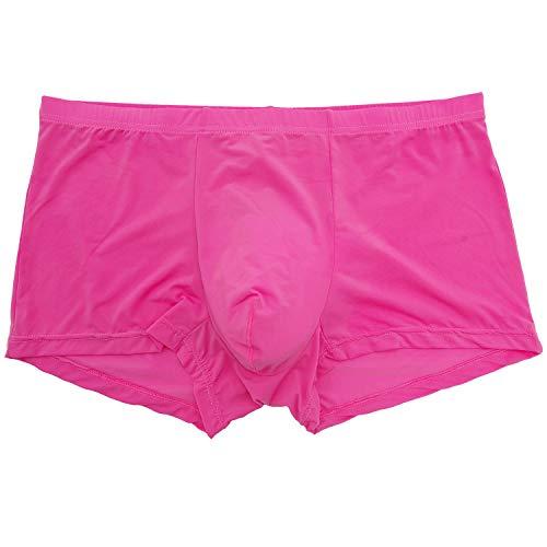 YuKaiChen Men's Trunks Underwear Silk Boxer Briefs Short Leg Pink XL