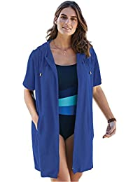 Women's Plus Size Hooded Terrycloth Swim Coverup