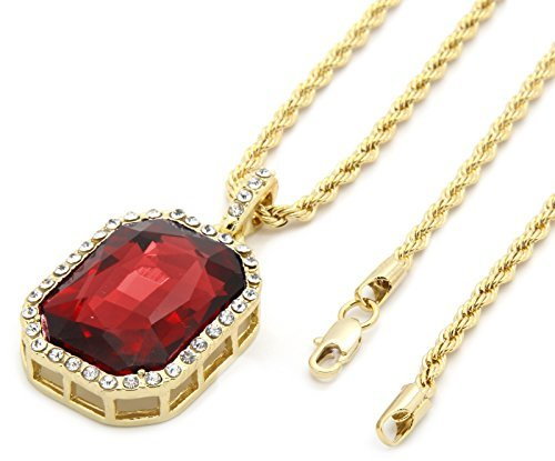 Mens 14k Gold Plated Iced Out Red Ruby Octagon Hip Hop Pendant with 3mm 24
