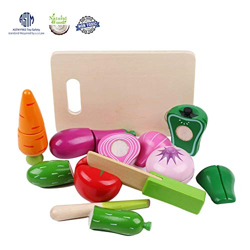(LEO & FRIENDS Wooden Vegetables Pretend Toy Food, Play Food Kitchen Set for Kids)
