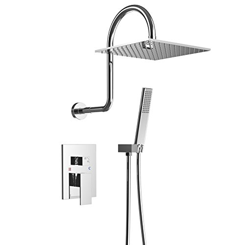 EMBATHER Shower System,Polished Chrome Shower Faucet Set with High Rise Shower Arm and High Pressure 10 Inch Square Rain Shower Head Shower Mixer Combo