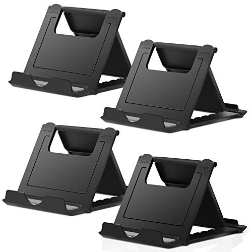 "Elimoons 2 Pack Cell Phone Stands, Universal Foldable Tablet Stand Multi-Angle Pocket Desktop Holder Cradle Compatible with iPhone 11 Pro Xs Max X 8 7 6s Plus, All Android Smartphones Tablets (6-10"")"