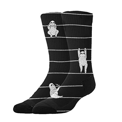 YEAHSPACE Novelty Gifts - Cute Sloth Black - Non Slip Anti-Skid Cotton Casual Athletic Socks,Colorful Fancy Dress Socks for Women Men