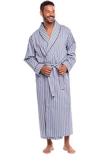 Alexander Del Rossa Men's Lightweight Cotton Robe, Woven Kimono, Small Light and Dark Blue Striped (A0715R62SM)