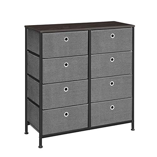 SONGMICS 4-Tier Wide Dresser Drawer, Storage Unit with 8 Easy Pull Fabric Drawers and Metal Frame, Wooden Tabletop, for Closets, Nursery, Dorm Room, Hallway, 31.5″ L x 11.8″ W x 32.1″ H, Grey ULTS24G