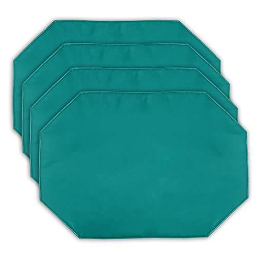 (Yourtablecloth Galaxy Vinyl Table Placemat Placemats with Thicker Construction Set of 4 Similar Color Mats Heavy Duty, Premium Finish Double Layer Design Turquoise Placemats )