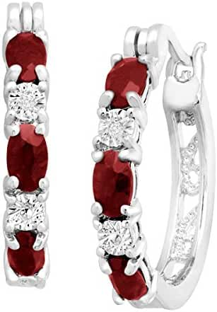 1 1/2 ct Natural Garnet Hoop Earrings with Diamonds in Platinum-Plated Brass, .875