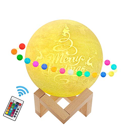 Rowrun 3D Moon Lamp 16 Colors 5.51IN Dimmable LED Night Light with Stand RGB Remote & Touch Control USB Rechargeable for Baby Kids Lover Friends Family Christmas Birthday Gift Home Decoration