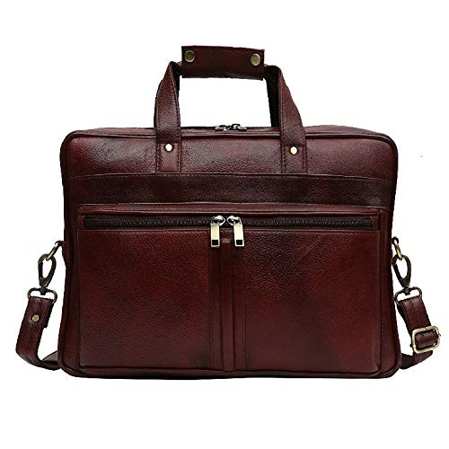 (HiLEDER 100% Pure Genuine Leather Designer 16 inch Business Purpose Crossbody Briefcase Laptop Messenger Bag, Dark Brown)