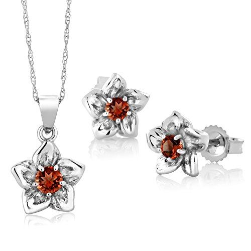 Set 18k Jewelry Garnet (0.38 Ct Round Red Garnet 18K White Gold Pendant Earrings Set)