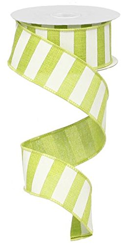 Patty Pink Ribbon - Lime Green White Striped Fabric Burlap Wired Ribbon (1.5 Inches x 10 Yards) : RX9148WW