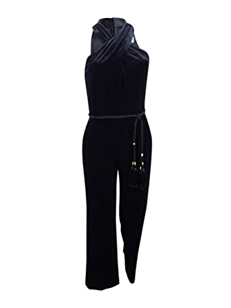 2d635c5cd65 Amazon.com  Tahari by ASL Petite Women s Petite Velvet Halterneck Jumpsuit  Black 6  Clothing