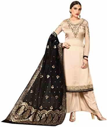 8ebd3488aa Beige Festive Eid Designer Palazzo style Salwar Kameez Suit Banarasi  Dupatta Muslim Custom made Party wear