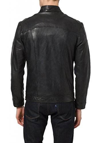 Uomo Leather Leather Giacca Junction Giacca Nero Junction xHXzHgq