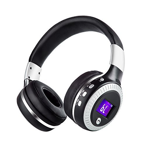 Bluetooth Headphones On Ear for Youth / Student/Kids, Wireless Foldable Stereo Headsets with Built-in Mic,Wired Mode,Support Micro SD Card Play and Radio for iPhone Samsung Cell Phone (Black Silver) (Titanium Folding Headphone)