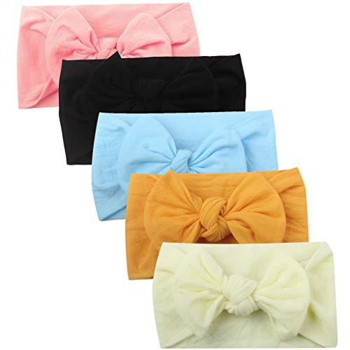 Orcbee  _5Pcs Baby Girls Toddler Headband Turban Solid Hair Band Bow Accessories Headwear (E)