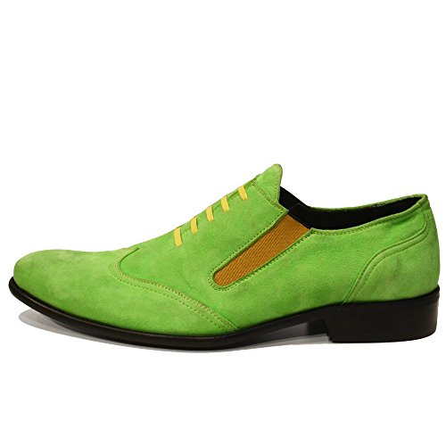 Modello Grenio - Cuero Italiano Hecho A Mano Hombre Piel Verde Mocasines y Slip-Ons Loafers - Cuero Ante - Ponerse