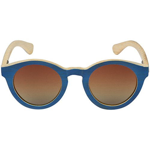 WOODIES Blue Full Bamboo Sunglasses with Round - Woodies Sunglasses Bamboo