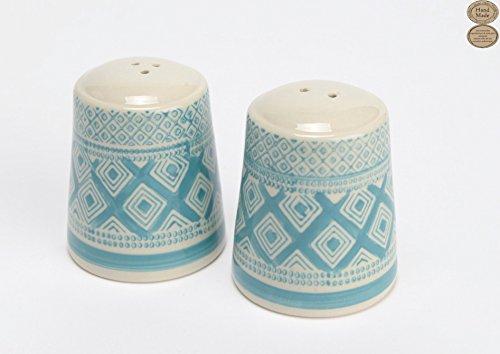 (French Hand Made Ceramic Salt & Pepper Shaker Set with Modern Design)