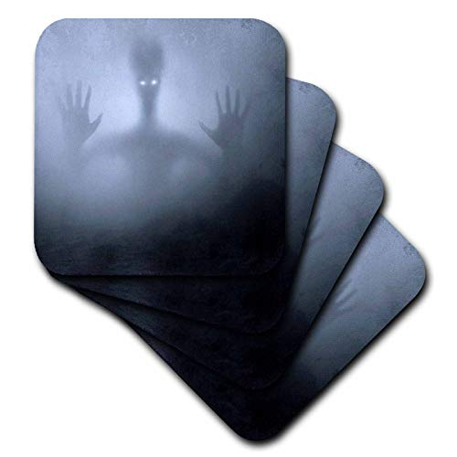 3dRose Sandy Mertens Halloween Designs - Haunting Alien Searching Through the Fog at Night, 3drsmm - set of 4 Coasters - Soft (cst_290228_1)